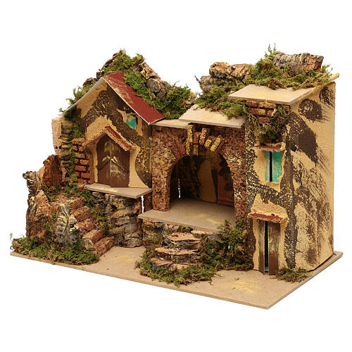 Borgo con stalla centrale e case 25x30x20 cm per presepi di 6 cm  3