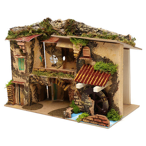 Village with mill and stable 25x30x20 cm for Nativity scenes of 6 cm 2