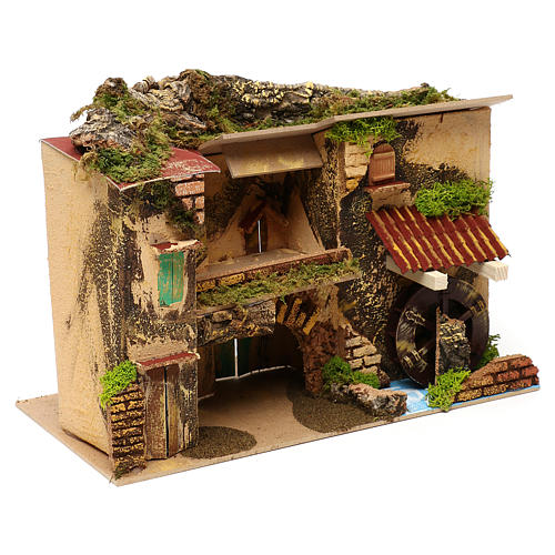 Village with mill and stable 25x30x20 cm for Nativity scenes of 6 cm 3