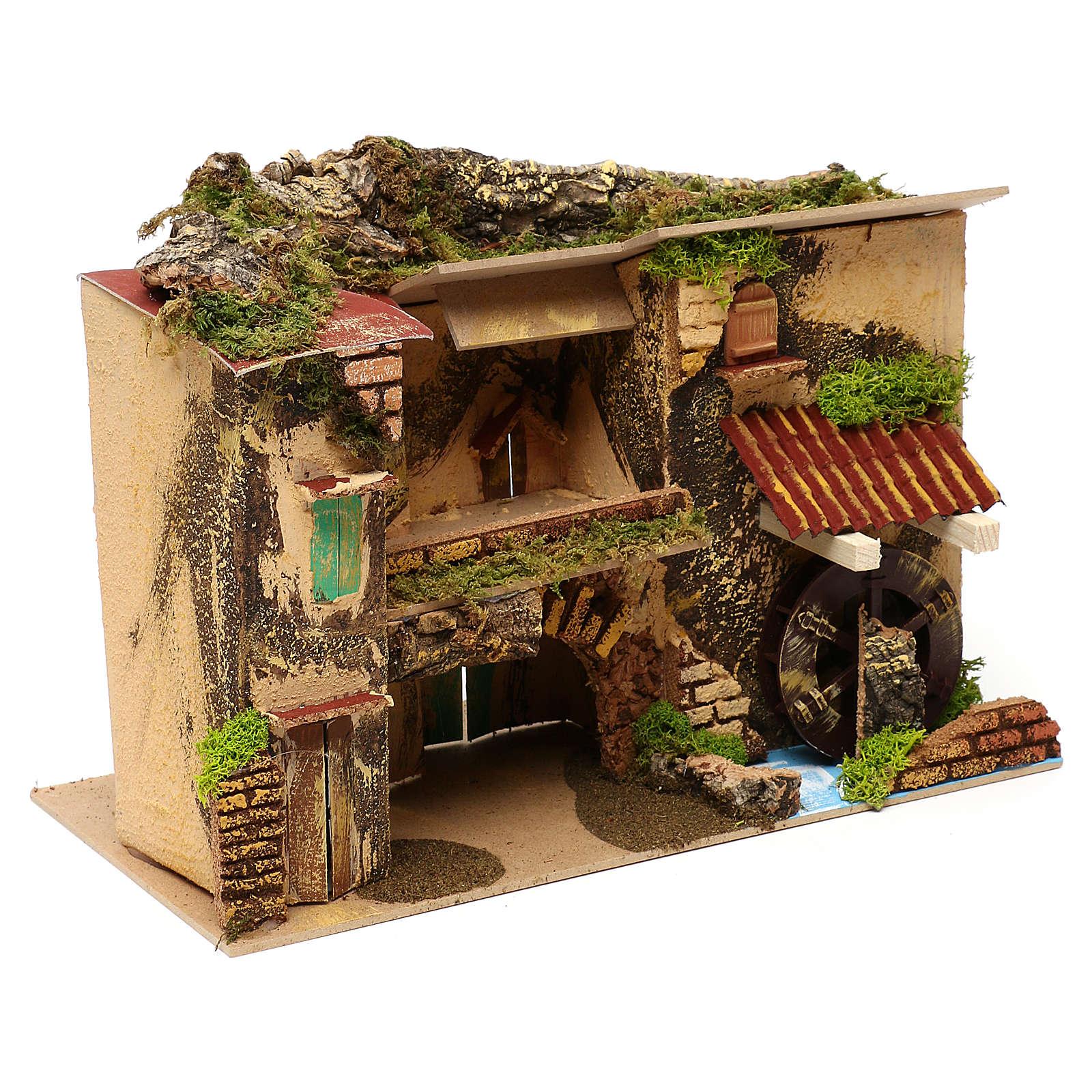 Borgo con mulino e stalla 25x30x20 cm per presepi di 6 cm 4