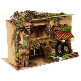 Borgo con mulino e stalla 25x30x20 cm per presepi di 6 cm s3