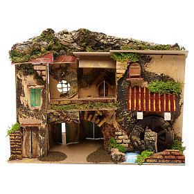 Ambientações para Presépio: lojas, casas, poços: Aldeia com musgo e estábulo 25x30x20 cm para presépio com figuras de 6 cm de altura média