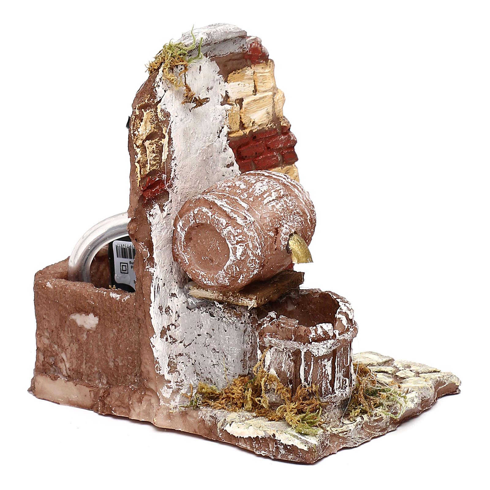 Fontana funzionante con botte 10x10x10 cm presepe napoletano 6-8 cm 4