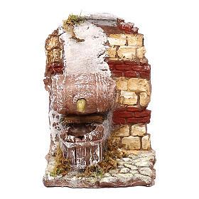 Fontana funzionante con botte 10x10x10 cm presepe napoletano 6-8 cm s1