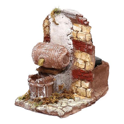 Fontana funzionante con botte 10x10x10 cm presepe napoletano 6-8 cm 2