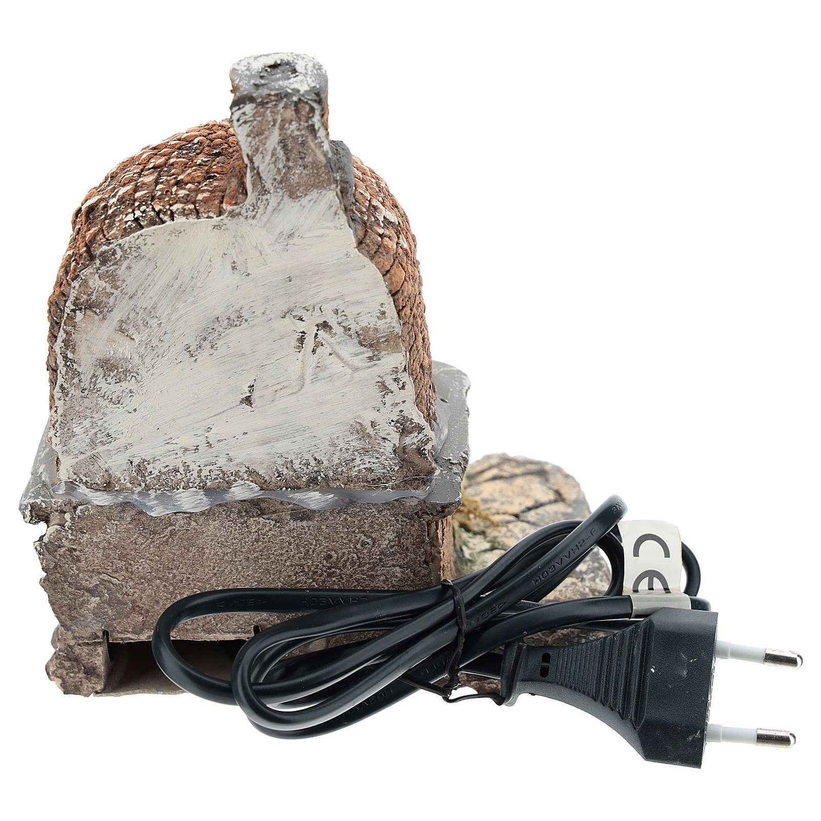 Horno con efecto llama de resina 15x15x10 cm belén Nápoles 10 cm 4