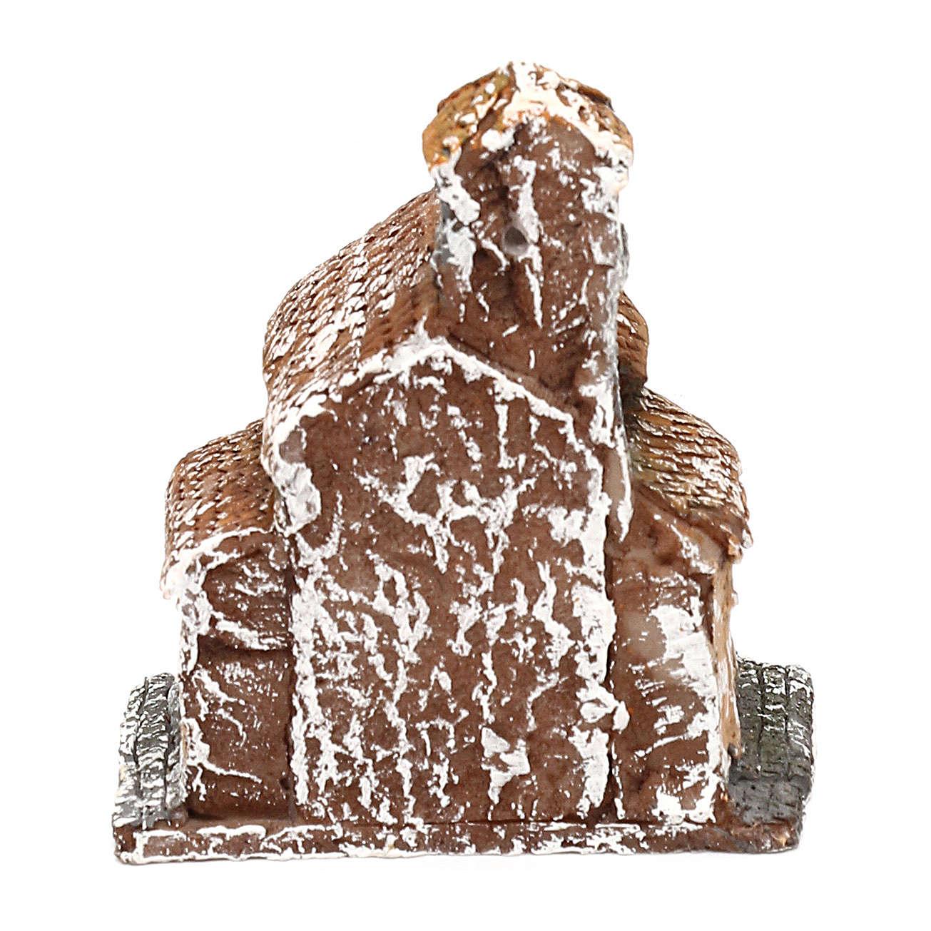 Maisonnette en résine avec tour 5x5x5 cm crèche napolitaine 3-4 cm 4