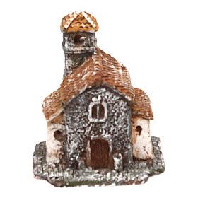 Casetta in resina con torre 5x5x5 cm presepe napoletano 3-4 cm s1