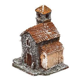 Casetta in resina con torre 5x5x5 cm presepe napoletano 3-4 cm s2