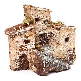 Casetta in resina con torre 5x5x5 cm presepe napoletano 3-4 cm s7