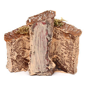 Casetta in resina con torre 5x5x5 cm presepe napoletano 3-4 cm s8