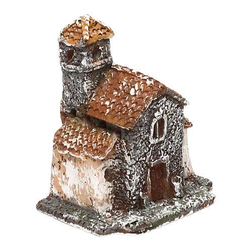 Casetta in resina con torre 5x5x5 cm presepe napoletano 3-4 cm 3