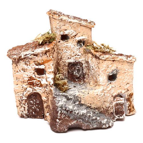 Casetta in resina con torre 5x5x5 cm presepe napoletano 3-4 cm 5