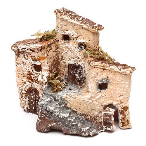 Casetta in resina con torre 5x5x5 cm presepe napoletano 3-4 cm 6