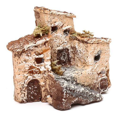 Casetta in resina con torre 5x5x5 cm presepe napoletano 3-4 cm 7