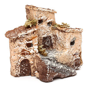 House figure in resin with tower 5x5x5 cm, Neapolitan nativity 3-4 cm s7