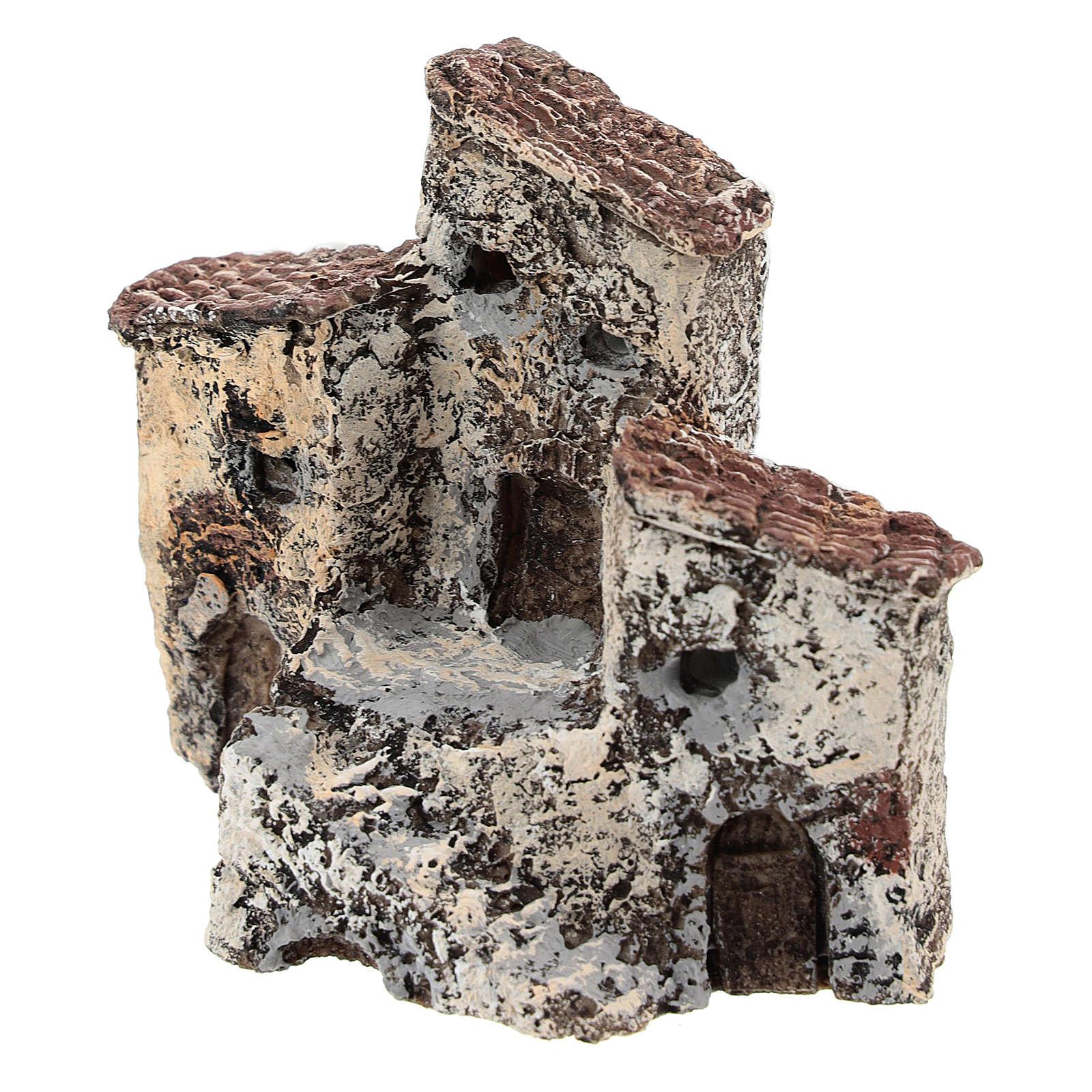 Ancienne bourgade 10x10x5 cm crèche napolitaine 3-4 cm 4