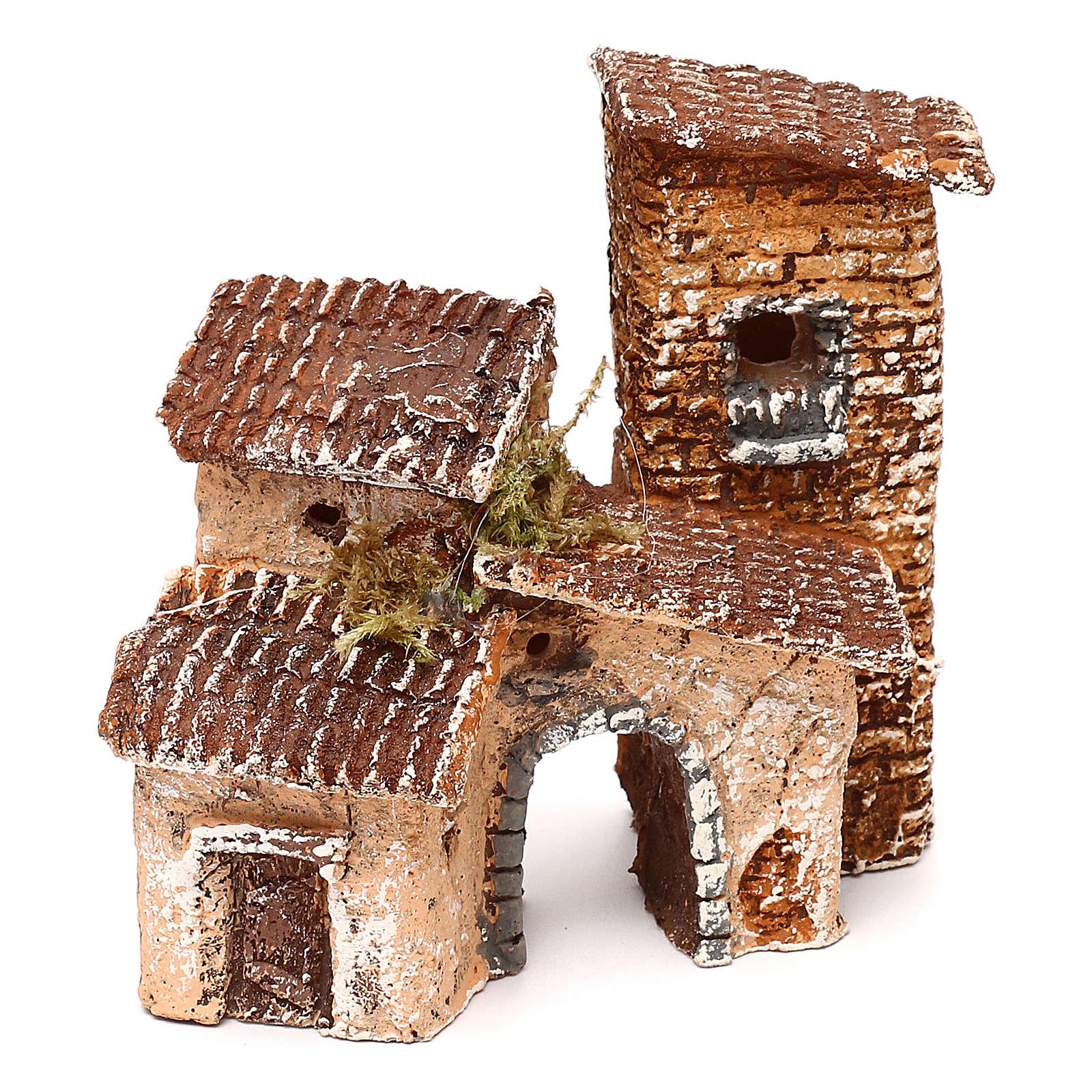 Borgo con arcata 10x10x10 cm presepe napoletano 3-4 cm  4