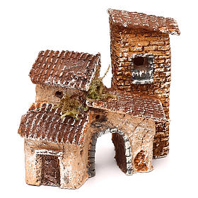 Borgo con arcata 10x10x10 cm presepe napoletano 3-4 cm  s1