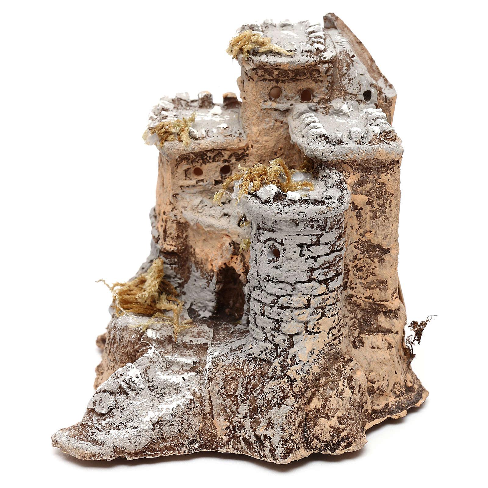 Château en résine 10x10x10 cm crèche napolitaine 4 cm 4