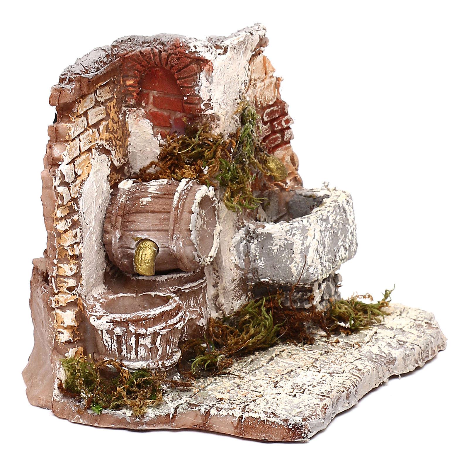 Double fontaine électrique mur en briques 10x15x15 cm crèche Naples 6-8 cm 4