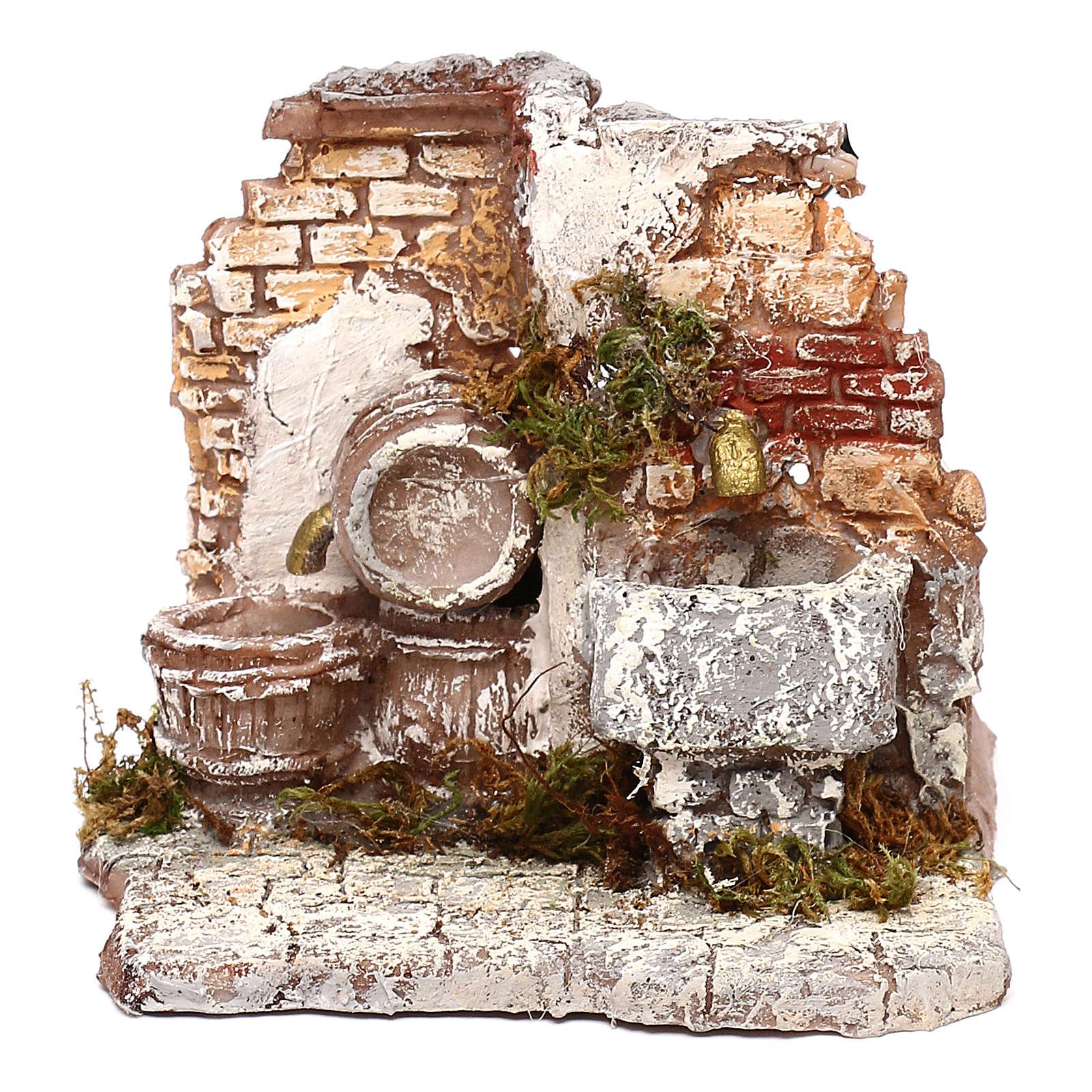 Doppia fontana funzionante muro in mattoni 10x15x15 cm presepe Napoli 6-8 cm 4