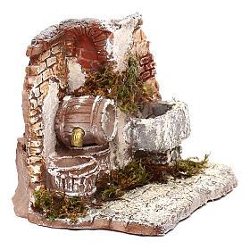 Doppia fontana funzionante muro in mattoni 10x15x15 cm presepe Napoli 6-8 cm s3