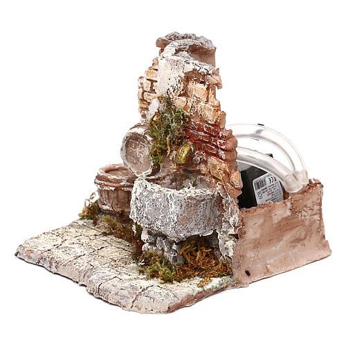 Doppia fontana funzionante muro in mattoni 10x15x15 cm presepe Napoli 6-8 cm 2