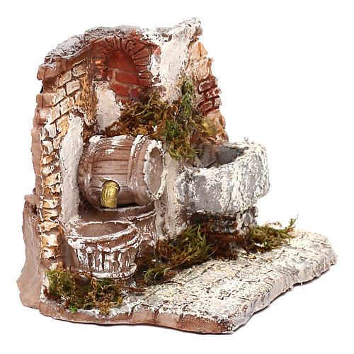 Doppia fontana funzionante muro in mattoni 10x15x15 cm presepe Napoli 6-8 cm 3