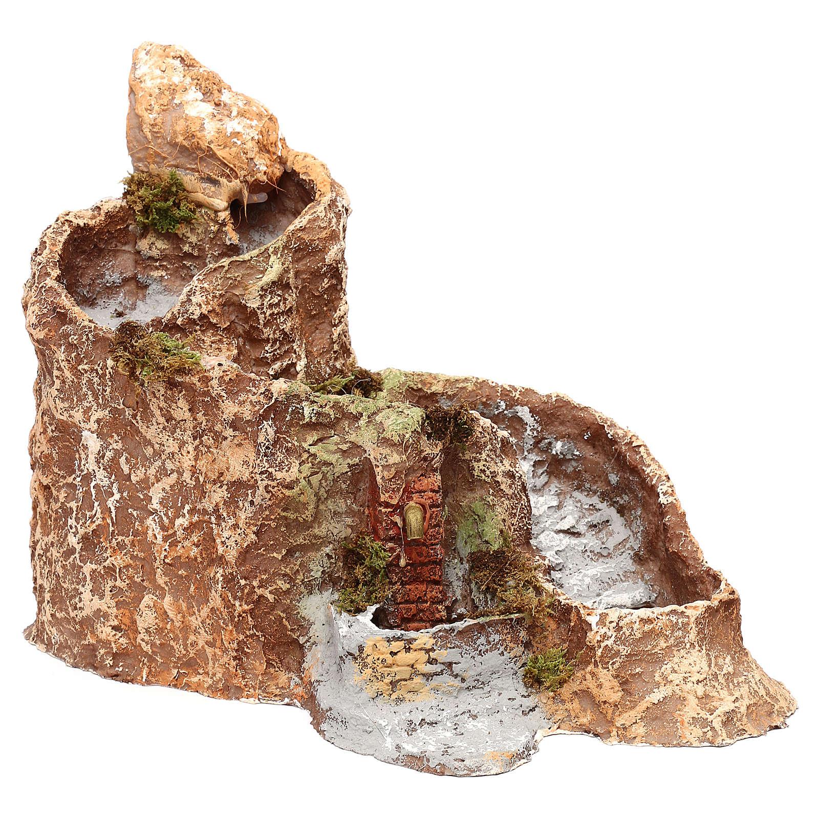 Arroyo y fuente que funcionan 25x25x35 cm belén napolitano 10 cm 4