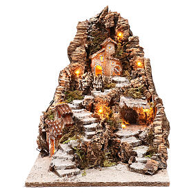 Pueblo ahuecado en una montaña 35x30x40 cm iluminado belén napolitano 4 cm s1
