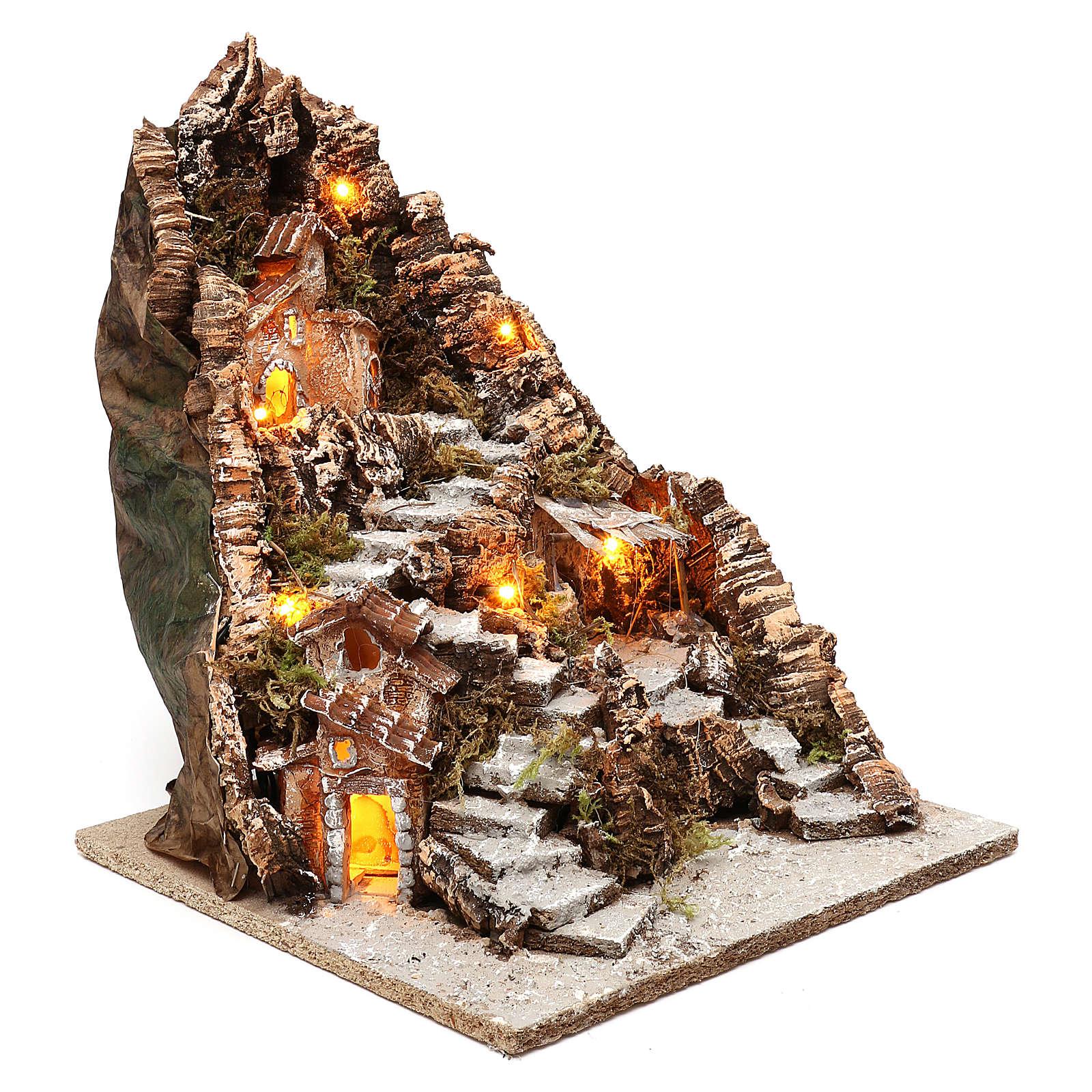 Borgo incavato in una montagna 35x30x40 cm illuminato presepe napoletano 4 cm 4