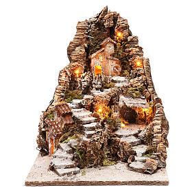 Presépio Napolitano: Aldeia na montanha 35x30x40 cm iluminada para presépio napolitano com figuras de 4 cm de altura média