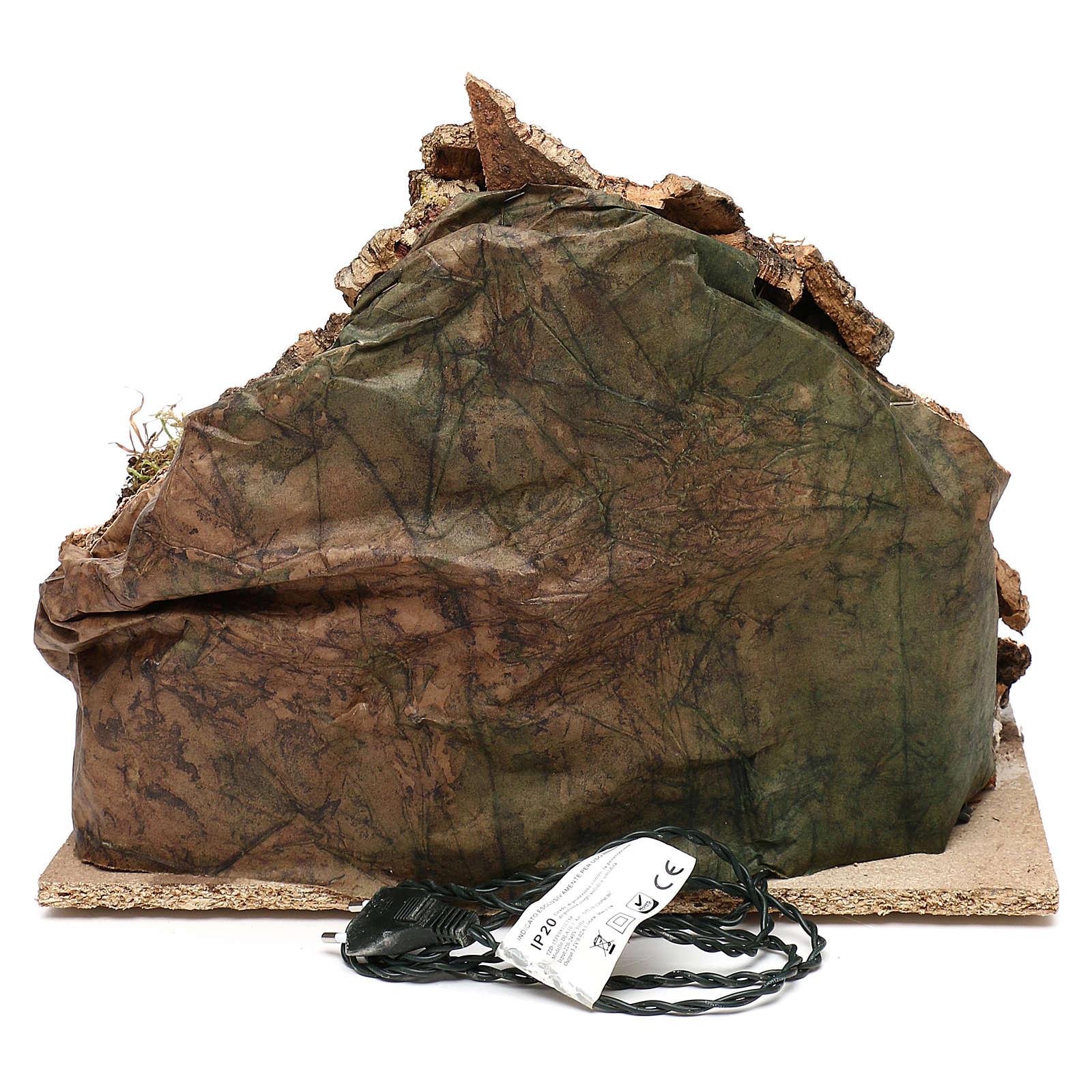 Pueblo con cueva y montaña 30x40x30 cm iluminado belén napolitano 4-6 cm 4