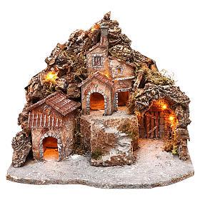 Pueblo con cueva y montaña 30x40x30 cm iluminado belén napolitano 4-6 cm s1