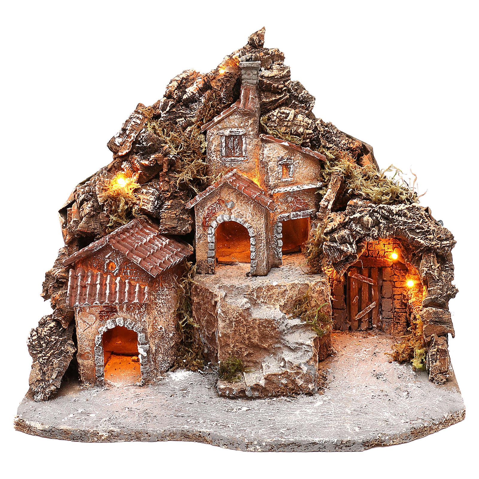Borgo con grotta e montagna 30x40x30 cm illuminato presepe napoletano 4-6 cm 4