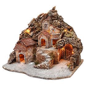Borgo con grotta e montagna 30x40x30 cm illuminato presepe napoletano 4-6 cm s2