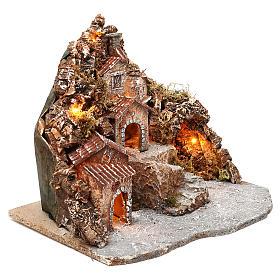 Borgo con grotta e montagna 30x40x30 cm illuminato presepe napoletano 4-6 cm s3