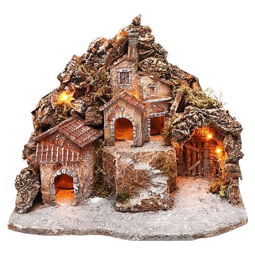 Borgo con grotta e montagna 30x40x30 cm illuminato presepe napoletano 4-6 cm 1