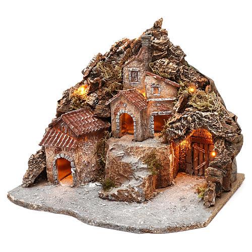 Borgo con grotta e montagna 30x40x30 cm illuminato presepe napoletano 4-6 cm 2