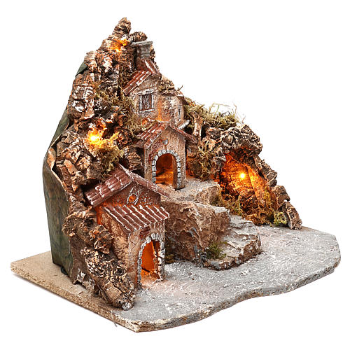 Borgo con grotta e montagna 30x40x30 cm illuminato presepe napoletano 4-6 cm 3