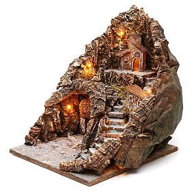 Borgo scalinata lato destro grotta porta su fondo 35x35x35 cm illuminato Napoli 4-6 cm s2