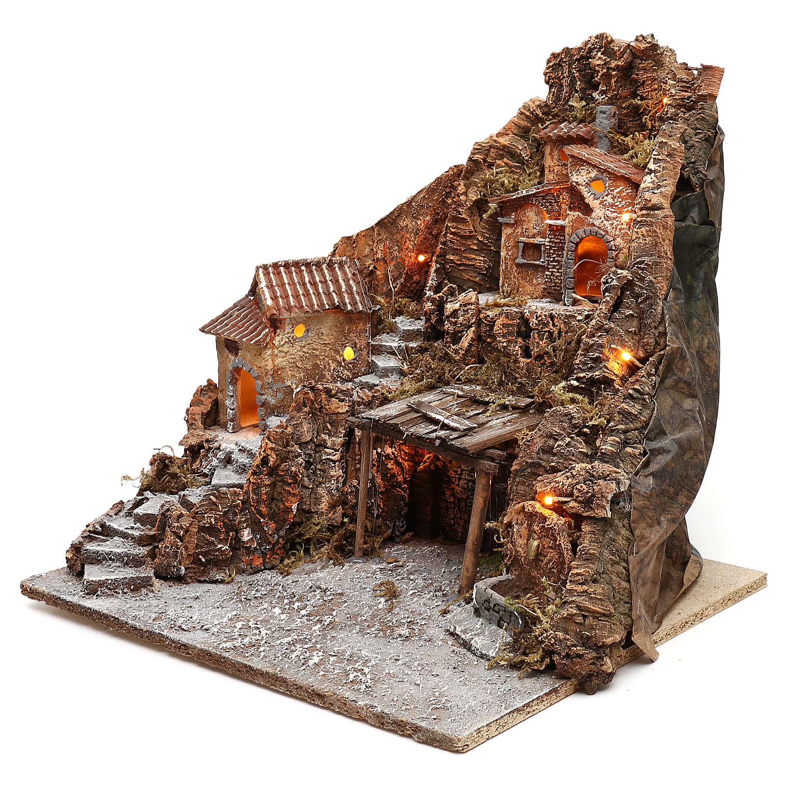 Pueblo Nápoles escalera lateral establo central fuente 40x45x50 cm iluminado 4-6-8 cm 4