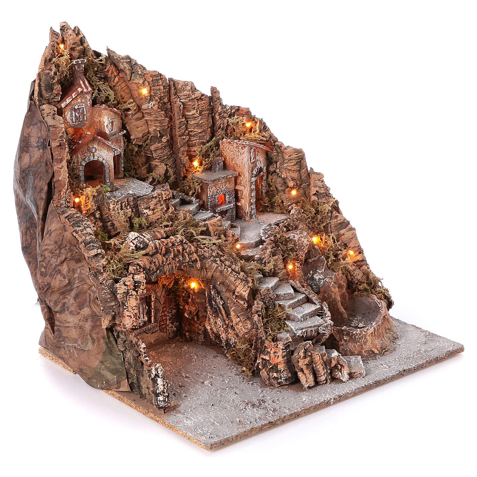 Pueblo Nápoles con escalera central lago horno 50x55x50 cm iluminado 6-8-10 cm 4