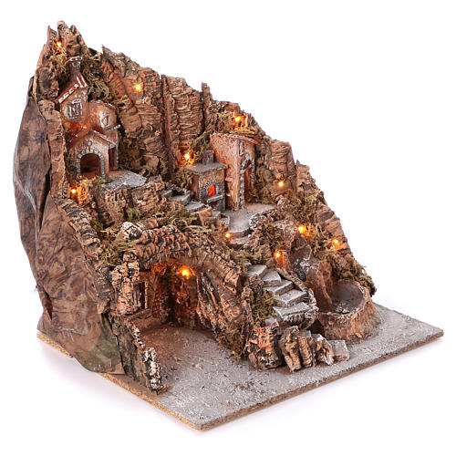 Pueblo Nápoles con escalera central lago horno 50x55x50 cm iluminado 6-8-10 cm 3