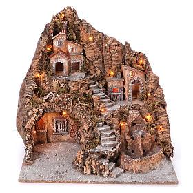 Presépio Napolitano: Aldeia Nápoles com escadaria central lago forno 50x55x50 cm iluminada para presépio com figuras de 6-8-10 cm de altura média