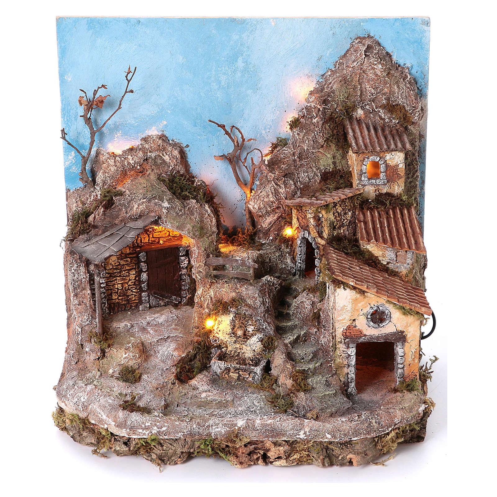 Pueblo con fondo y fuente 45x40x30 cm iluminado belén napolitano 6-8 cm 4