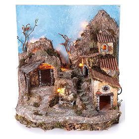 Pueblo con fondo y fuente 45x40x30 cm iluminado belén napolitano 6-8 cm s1