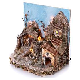 Pueblo con fondo y fuente 45x40x30 cm iluminado belén napolitano 6-8 cm s2
