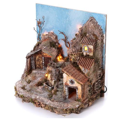 Pueblo con fondo y fuente 45x40x30 cm iluminado belén napolitano 6-8 cm 2